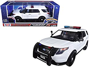 MOTOR MAX 1:18 LAW ENFORCEMENT - 2015 FORD POLICE INTERCEPTOR UTILITY WITH LIGHT & SOUND WHITE DIECAST 73995