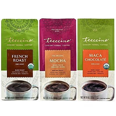 Teeccino Herbal Coffee Variety Pack – Mocha, French Roast, Maca Chocolaté – Ground Herbal Coffee That's Prebiotic, Caffeine-Free & Acid Free, Medium Roast, 11 Ounce (Pack of 3)