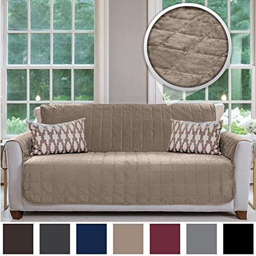 Gorilla Grip Original Velvet Slip Resistant Large Sofa Protector for Seat Width up to 70 Inch, Patent Pending Furniture Slipcover, 2 Inch Straps, Couch Slip Cover Throw for Pets, Dogs, Sofa, Beige