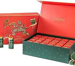 VAHDAM, Holiday Christmas Tea Gift Set   24 Varieties of Teas in Tea Sampler Gift Box   100% Natural Ingredients   Best Christmas Tea Gift Set for Everyone