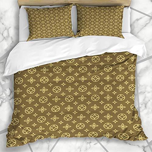 Soefipok Conjuntos de Funda nórdica Maleta Vuitton Lujo Estampado Floral geométrico Abstracto Louis Pram Blossom Lona Diseño de alfombras Ropa de Cama de Microfibra con 2 Fundas de Almohada