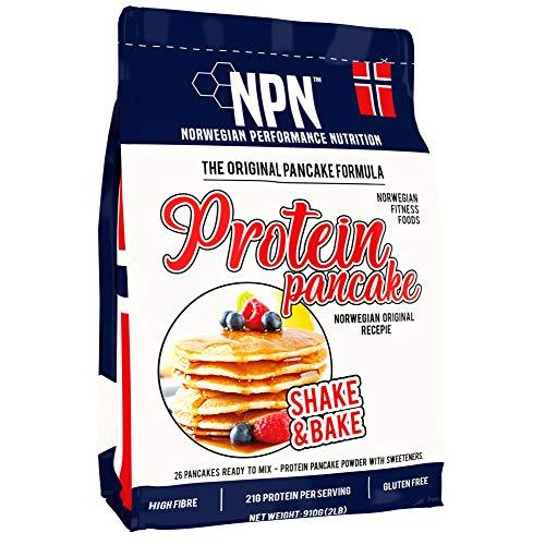 NPN Protein Pancake mix | Gluten free formula | Triple protein source | Shake & Bake 26 pancakes | 910g Norwegian original formula