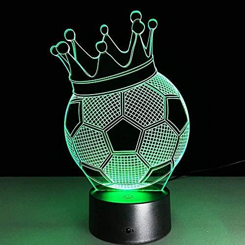 Forma de corona de fútbol 3D ilusión fotográfica luz nocturna lámpara de mesa LED luz táctil de 7 colores decoración de la oficina del dormitorio en casa para niños D regalo de cumpleaños