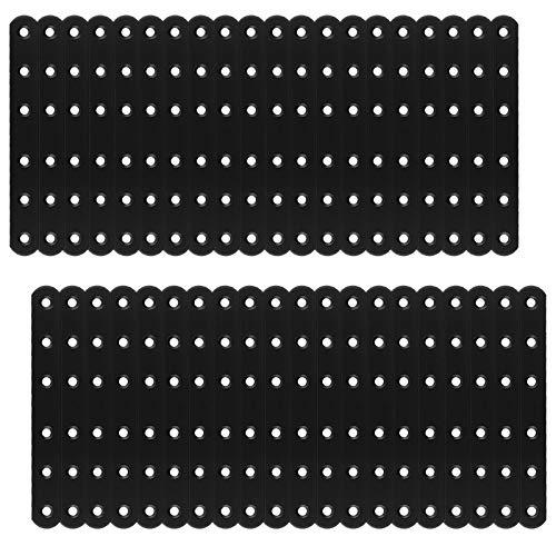 LISHINE 40 piezas de soporte plano recto negro, 160 x 20 x 3 mm, soporte recto, soportes rectos de esquina para estantes de madera, tablas de mesa, armario de pecho, 40 unidades