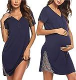 Pinspark Damen Umstands Stillnachthemd Kurz Stillkleid Navy Blau Still Nachthemd Umstandsnachthemd Umstandsmode Kleid mit Stillfunktion XXL