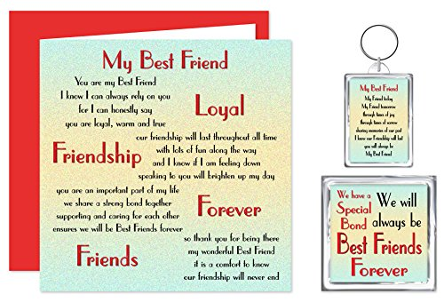 My Best Friend Verse Gift – Card, Keyring & Fridge Magnet - BFF Friends Forever -...