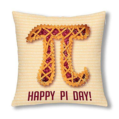Kinhevao Divertido matemático Pi Happy Pi Día Pastel de Cereza Decoración Cojín de Almohada, Cojín Decorativo con Cremallera