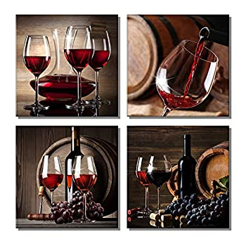 Red Grape Wine Canvas Wall Art Modern Painting Artwork Still Life Pictures Decorations for Dining Room Bar Kitchen Salon Office Home Decor 12 x 12 x 4Pcs Framed