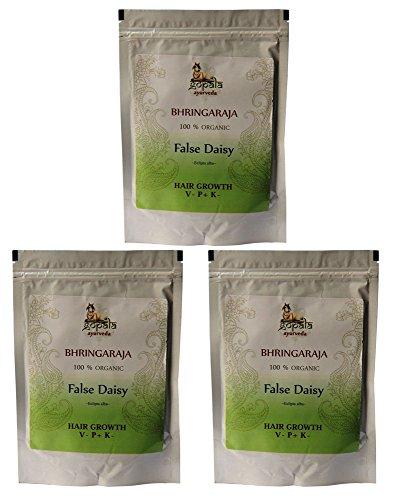 Bio BHRINGARAJA Pulver (250g - 3er pack) Eclipta alba - 100% Bio-zertifiziertes pflanzliches Nahrungsergänzungsmittel der Lacon GmbH