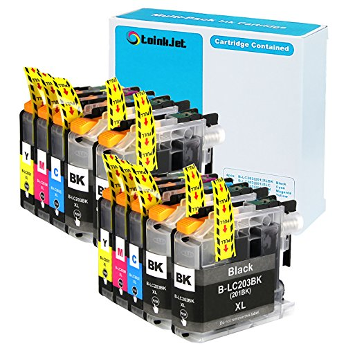 10 Pack TOINKJET Compatible Replacement for Brother LC203 LC 203 XL LC201 Ink Cartridges for MFC-J460 MFC-J480DW MFC-J485DW MFC-J680DW MFC-J885DW J880DW MFC J5520DW J5620DW J5720DW J4420DW
