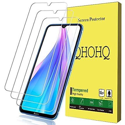 QHOHQ Protector de Pantalla para Xiaomi Redmi Note 8T, [3 Piezas] [Dureza 9H] Sin Burbujas HD Transparente Anti-Arañazos Cristal Templado