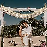 Just Married Sackleinen Banner, Hochzeit Ammer Banner mit LED Fee Lichterkette 8 Flackern Modus, Hängendes Zeichen Girlande Wimpel Foto Stand Requisiten für Braut Shower Hochzeit