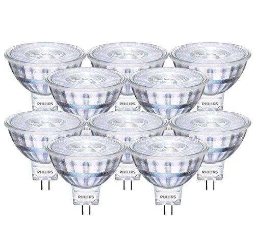 10 x Philips LED Reflektor 5W / GU5,3 / 12V / LED Lampe/LED Reflektor/Verbrauch 5 Watt ersetzt 35 Watt / 5 kWh pro 1000 Std. /Lichtfarbe Warmweiß 2700K / 390 Lumen/Abstrahlwinkel 36° / 15.000h