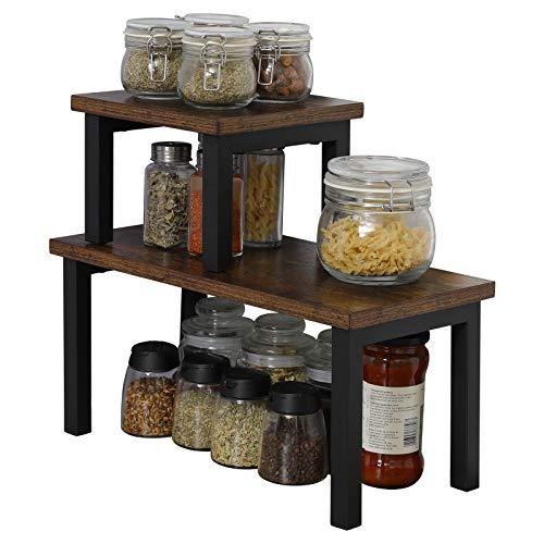OROPY Set mit 2 Stapelbaren Küchenregale auf Arbeitsplatten, Regaleinsatz im Küchenschrank, freistehender Desktop Organizer, für Küchenutensilien, Gewürzdosen, Becher und Badezimmerzubehör
