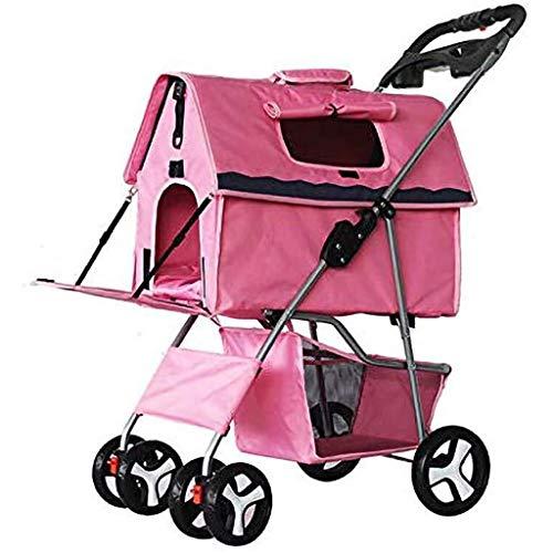 ZUQIEE Cochecito del Animal doméstico, Perro Gato al Aire Libre del Carro de Coches, Desmontable Carrito portátil Ajustable Parasol de 4 Ruedas Viaje de Compras (Color : Pink)