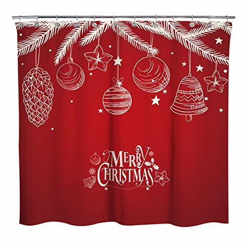 Sunlit roter Duschvorhang Weihnachtsbällen Ornamenten, Weihnachtsdeko Weihnachten aus Kiefernholz für Badezimmer, Zuhause, Büro, Urlaub, Wanddekoration als Wandteppich & Fotokabine Hintergr&