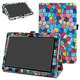 MAMA MOUTH Huawei MediaPad T3 10 Tablet Funda, Slim PU Cuero con Soporte Funda Caso Case para 10.1' Huawei MediaPad T3 Tablet PC,Stained Glass