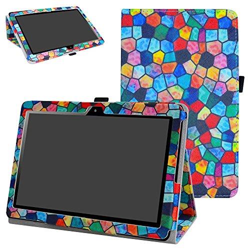 """MAMA MOUTH MediaPad T3 10 Tablet Custodia, Slim Sottile di Peso Leggero con Supporto in Piedi Caso Case per 10.1"""" Huawei MediaPad T3 Tablet PC,Stained Glass"""