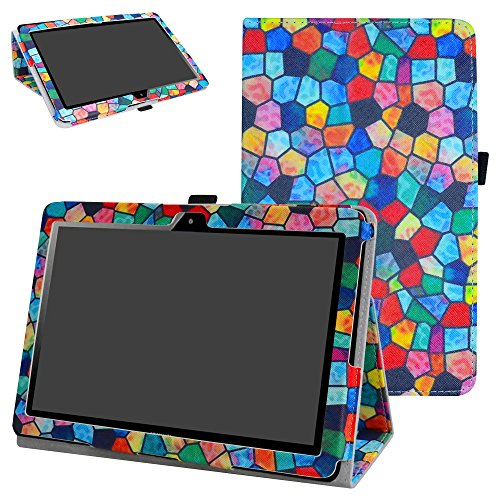 MAMA MOUTH Huawei MediaPad T3 10 Tablet Funda, Slim PU Cuero con Soporte Funda Caso Case para 10.1' Huawei MediaPad T3 Tablet PC,Stained Glass
