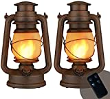 Led Vintage Lantern, Realistic Flicker Flame Outdoor Hanging Lantern Battery Operated Camping Night Lights with Remote Landscape Decorative for Garden Patio Deck Yard Path 2 Pack, Copper