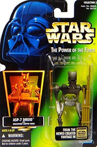 Star Wars The Power of the Force ASP-7 Droid - Figura de acción de 10,16 cm con varillas de suministro Spaceport