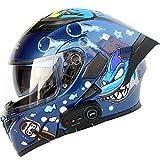 Automotech Motorcycle Helmet With Bluetooth Earphone Modular Flip Up Motorbike...