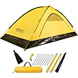MIS Backpacking Tent,Ultralight 2 Person Camping Tent with Stakes and Poles, Asymmetric Dome Waterproof Tent for Outdoor Hiking Mountaineering (2 Person Tent-Yellow-3.5lbs)