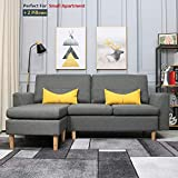 Best-Living Furniture Modern Linen Fabric L-Shaped Small Space Sectional Sofa with Stool, Reversible Chaise,...