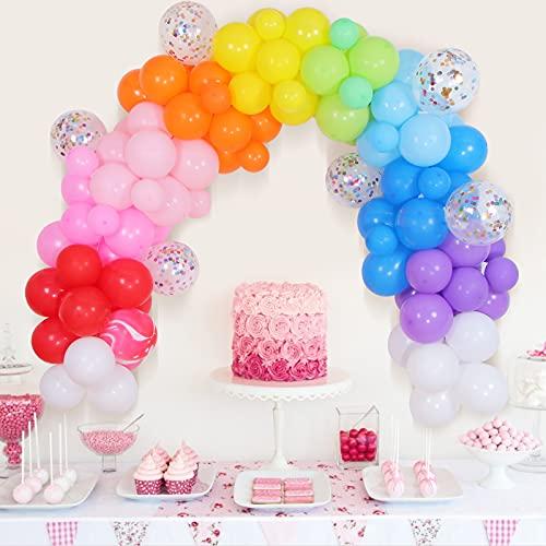 GRESATEK Multicolore Arche Ballon, 105PCS Arc-en-Ciel Guirlande Ballons Decoration Anniversaire Kit Inclure 5PCS Confettis, pour Anniversaire, Cérémonie de Mariage, Party, Fête, Valentin, Noël