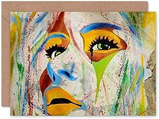 Fine Art Prints Graffiti kvinna ansikte flerfärgad gratulationskort med kuvert inuti premiumkvalitet