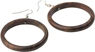 Women's Wood .925 Sterling Silver Round Brown 38 mm Dangle Hoop Earrings