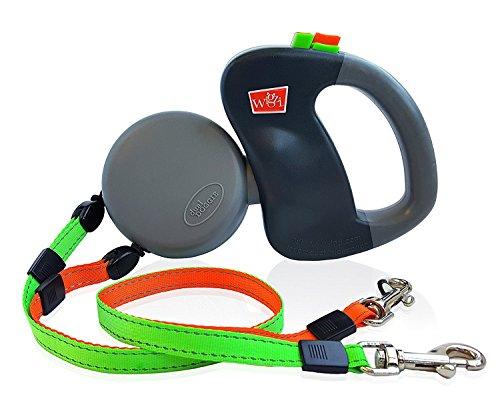 Wigzi – authentisch – USA patentiert – Dual Doggie reflektierende Retractable Pet Leash – 360 Zero Tangle Design – Zwei Hunde bis zu 22,7 kg – Garantie