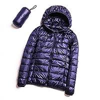 暖かく保つためにフード付きダウンジャケットフード付きダウンジャケットダウン薄い白アヒル、厚く暖かいスリムコート、フード付き暖かい冬のコートの女性の短いセクション navy blue-M