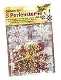 folia 12520 - Bastelset für 5 Perlensterne, rot / gold / perlweiß - ideal als selbstgemachte...