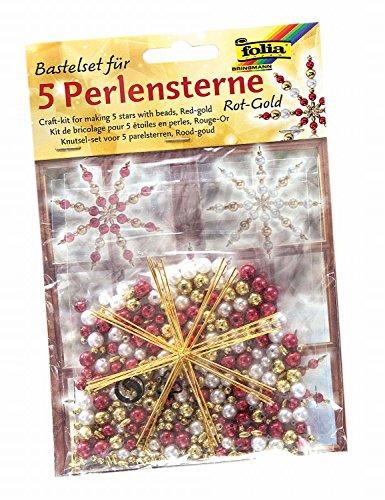 folia 12520 - Bastelset für 5 Perlensterne, rot / gold / perlweiß - ideal als selbstgemachte Dekoration für Weihnachten