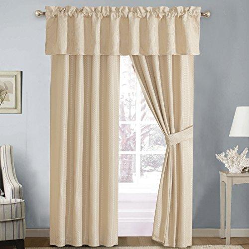 Sara 5PC Jacquard Lined Window Curtain Panel Set, 2 Panels 84 inches Long, 1 Valance and 2 Tiebacks