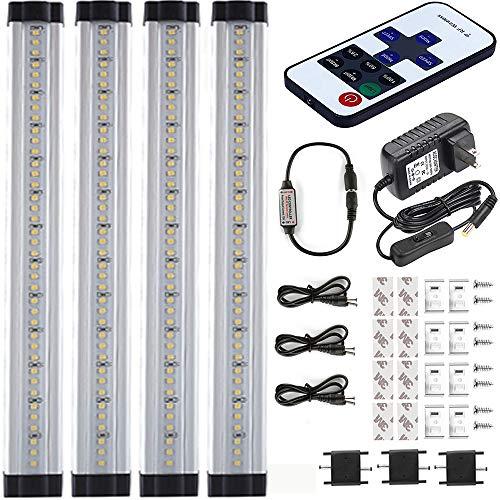 LED Under Cabinet Lighting Fixtures Plug in, Dimmable Under Cabinet Led Lighting, Daylight White LED Kitchen Cabinet Closet Strip Lighting 12W, 48W Fluorescent Tube Equivalent 1000LM, Daylight 5000K