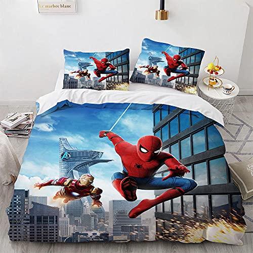Parure De Lit 140X200 Housse De Couette 140X200 Cm avec Deux Taies d'oreiller 65X65 Cm Microfibre avec Fermeture Éclair Spiderman Parure De Lit 3 Pièces
