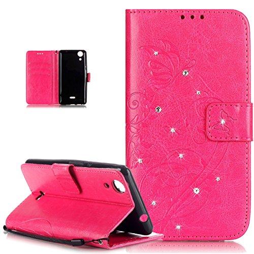 Kompatibel mit Wiko Rainbow Lite Hülle,Strass Glänzend Prägung Blumen Reben Schmetterling PU Lederhülle Handyhülle Taschen Flip Wallet Ständer Etui Schutzhülle für Wiko Rainbow Lite 3G / 4G,Rose Red