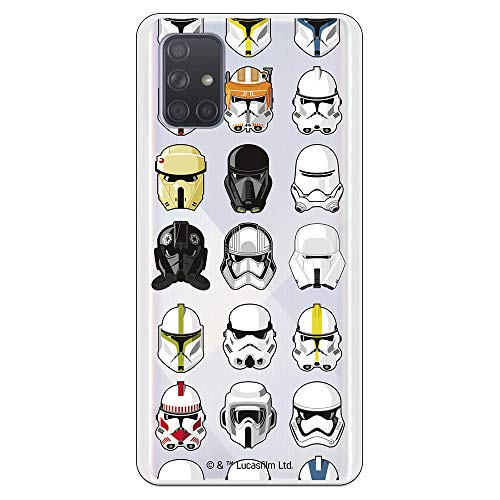 Funda para Samsung Galaxy A71 Oficial de Star Wars Patrón Cascos para Proteger tu móvil. Carcasa para Samsung de Silicona Flexible con Licencia Oficial de Star Wars.