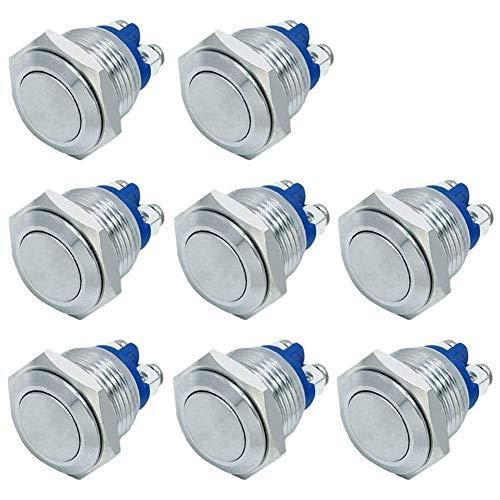 Ficbox 8 piezas 16 mm metal momentáneo interruptor de botón de metal inoxidable para coche RV camión barco