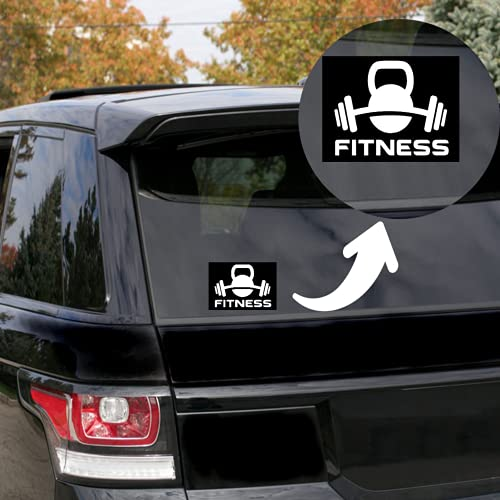 """Rohansson Retail & Deals Dumbbell and Kettlebell Fitness 7.5""""W White Vinyl Decal Sticker for Cars Trucks Vans / Laptop MacBook Compatible with All MacBook Pro, Clear Printed Decal Sticker RRD334"""