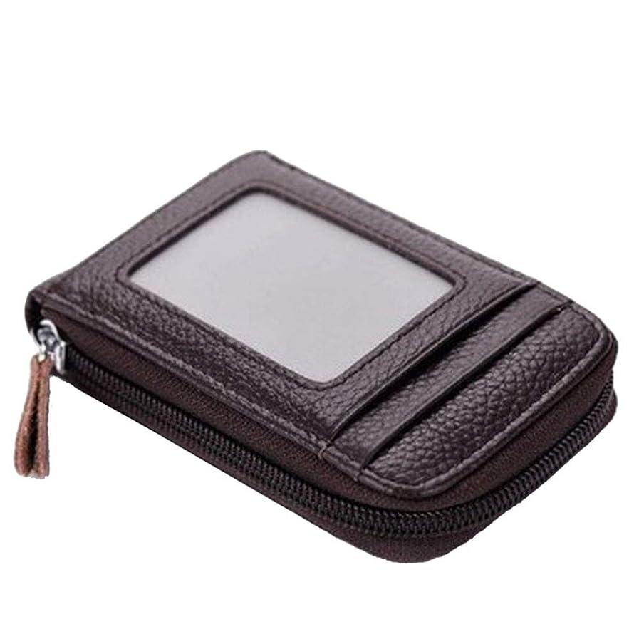 項目抽選ブリードRefaxi カードパッケージ、メンズウィメンズレザーウォレットクレジットカードホルダーブロックジッパー薄いポケット(ブラウン)