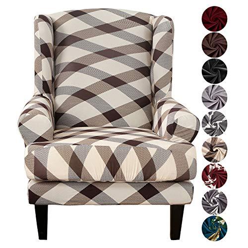 SHANNA Sofabezug, Sesselbezug Stretch Elastischer Sofabezug 2 Stücke Ohrensessel Bezug Sofaüberwurf Weiches Elasthan - Geometrisches Quadrat