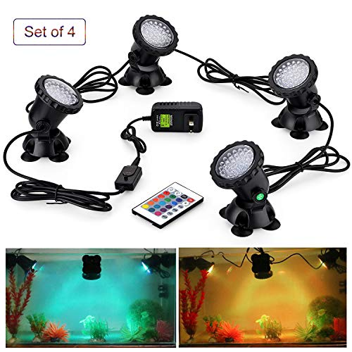 CPROSP Pond Lights 3.5W/Light Remote Control Submersible Lamp IP68 Waterproof Underwater Aquarium Spotlight 36-LED Multicolor Decoration Landscape Lamp for Swimming Pool Fish Tank Fountain (Set of 4)