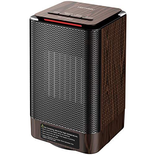 Homasy Calefactor Electrico Bajo Consumo, Calefactor Ceramico PTC 950W de Aire Caliente Ajustable, Bajo Ruido de 42dB, Oscilación Automática y Múltiples Protecciones para Baño, Oficina y Hogar