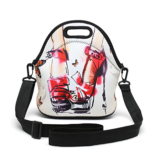 Insulated Neoprene Lunch Bag Removable Shoulder Strap Reusable Thermal Thick Lunch Tote Bags For Women,Teens,Girls,Kids,Baby,Adults-Lunch Boxes For Outdoors,Work,Office,School (High-heeled Shoes)