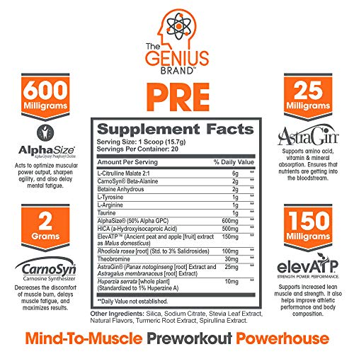 Genius Natural Pre Workout Powder