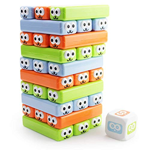 Boley Cute Stacking Blocks and Dice Game - 31 Piece Plastic Nesting Building Blocks and Dice...