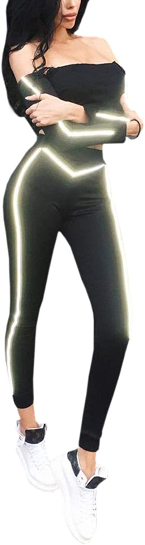 Sasonfixia Off Shoulder Long Sleeve Crop Top+Yoga Pants Two Pieces Reflective Sport Suit